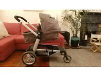 Double Buggy (converts to single): Mothercare Genie Pushchair & Second Seat Unit