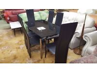 Chrome and Black Glass Dining Table + 6 Chairs