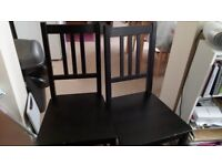 2 Small Black Wooden Chairs