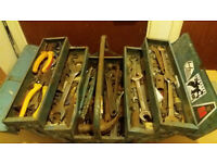 Metal Toolbox Full of old and some Rusty Tools