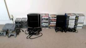 PlayStation 1,2 & 3 consoles with games