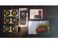 QTY OF SPEAKERS INCLUDING WIRELESS MUSIC BLASTER AND BRAND NEW HE SOUND TUBE