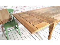 Farmhouse Extendable Rustic Kitchen Dining Table Turned Leg Natural - Seats up to Twelve People