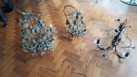 Chandelier lights x 3. Varying sizes.