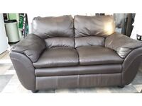 2-seater sofa brown leather