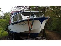 seamaster 550 motor cruiser,volvo penta140 inboard, on trailer sea toilet , hot and cold water