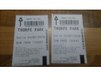 2 entry thorpe park tickets (24/7/16) ONLY