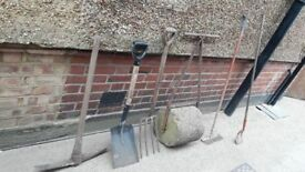 *GARDEN TOOLS**£10 EACH**RAKES**FORKS**SPADES**SHOVELS**PICK AXE**HOE**ETC**
