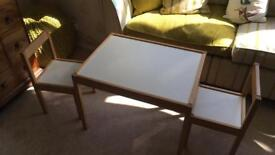 Children's table with 2 chairs LÄTT White/pine