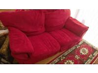 Red sofa and chair