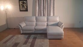 Ex-display Salamander cream leather electric recliner 3 seater chaise sofa