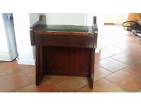 Wooden Piano Stool Dark Wood (With under seat storage)