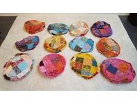 12 x Authentic Hand Made Rajasthani Patchwork Pouf Covers - India
