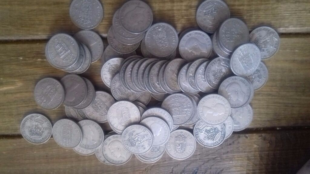 Pile of 1 Shilling coins