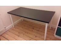 Ikea LINNMON Table Desk in black + 4 OLOV adjustable legs in white