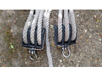 Polyester Rope - approx 28m x 15mm dia. with two triple stainless steel pulley blocks