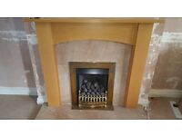 Gas fire and fire surround and marble hearth