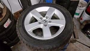 Used 95% tread 205 55 16 Champiro winter tires on OEM Honda Civic alloy rims 5x114.3