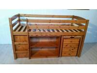 Mid Sleeper Solid Pine Cabin Bed