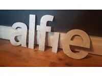 Vintage Retro Reclaimed Salvage Shop Letters Pub Sign Industrial Alfie A L F I E Boys Bedroom Name