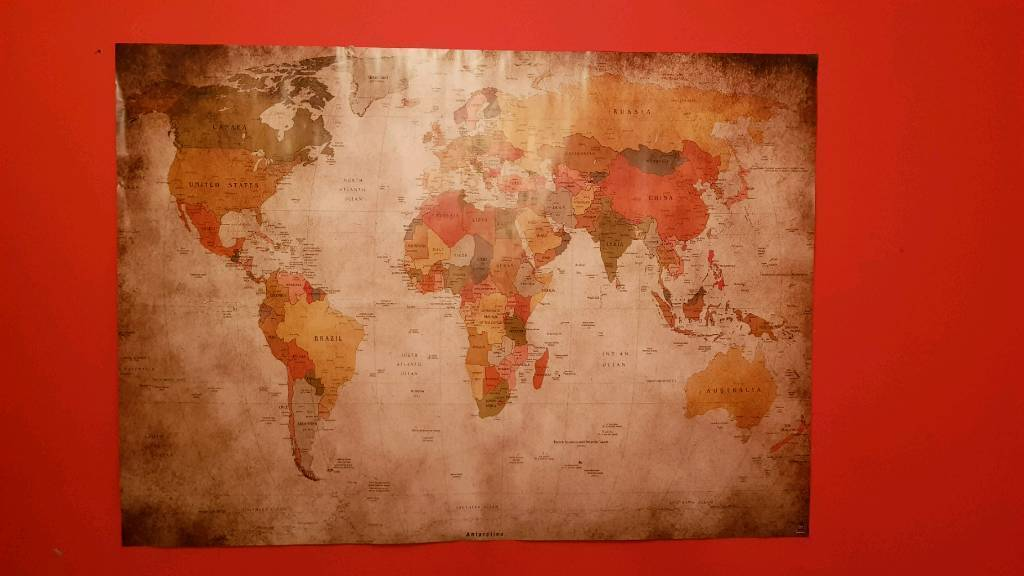 World map poster vintage style in maryhill glasgow gumtree world map poster vintage style gumiabroncs Image collections