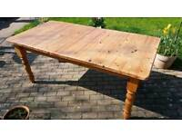 Large Extendable Solid Pine Dining Table