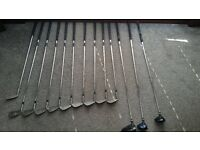 Full set of clubs driver 3 wood 7 wood 3 iron to sand wedge classic blade putter.