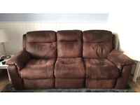 DFS suedette 3 seater sofa and matching arm chair