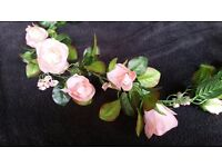 Peach artificial flower garland for wedding/ arts and crafts