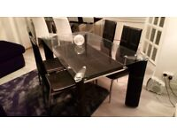 Black And Chrome Dining Table Chairs With Clear Glass Top