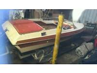 Speedboat project with heavy duty braked 4 wheel trailer no engine or outdrive is with the boat