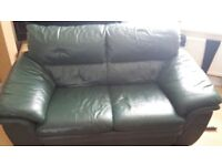 Green leather sofa immaculate condition