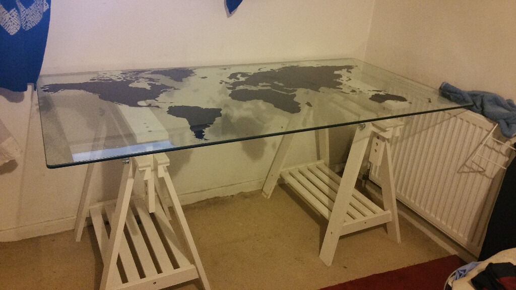 Ikea desk glasholm world map tempered glass in hornsey london ikea desk glasholm world map tempered glass gumiabroncs Gallery