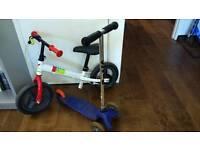 Micro scooter and balance bike b'twin