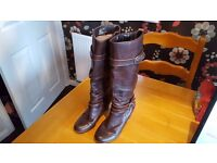 Brown leather boots , hush puppies, size 4