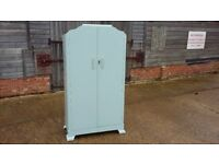 Vintage Painted Child's Wardrobe Duck Egg Blue