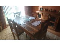 Solid wood table & 4 chairs with matching cabinet