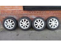 """15"""" NISSAN ALLOY WHEELS AND TYRES SET OF 4"""