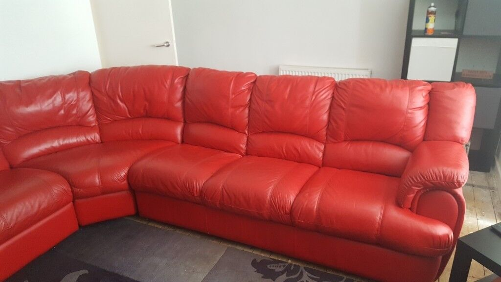 7 Seater Red Leather Corner Sofa