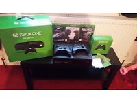 Xbox 1 in original box, 2 controllers and 3 games