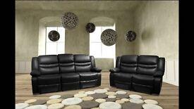 Venice Black BRAND NEW Leather Recliner Sofas