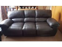 Oak Furniture Land - Harley brown leather 3 piece suite only 20 months old