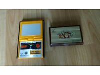 2 x rare game and watch 80's nintendo snoopy / donkey kong