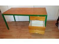 Pine Wooden Desk with Metal Legs
