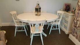 shabby chic extendable table and chairs