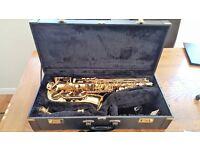 The horn revolution Saxophone (Trevor J James), case and stand.