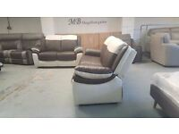 NEW ScS LEO BROWN & WHITE LEATHER 3 + 2 SEATER SOFAS Can Deliver Viewing Collection Kirkby NG177