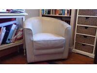 Cream leather tub chair