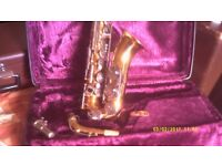 A GERMAN MADE ALTO SAXOPHONE by B & S .FIRST RATE SAX in MINT CONDITION , NICE KEYWORK