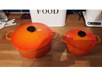 9.5 inch and 7 inch cast iron le creuset pots for sale